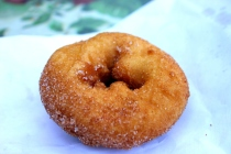 cinnamon sugar cider donut at harvest moon farm orchard