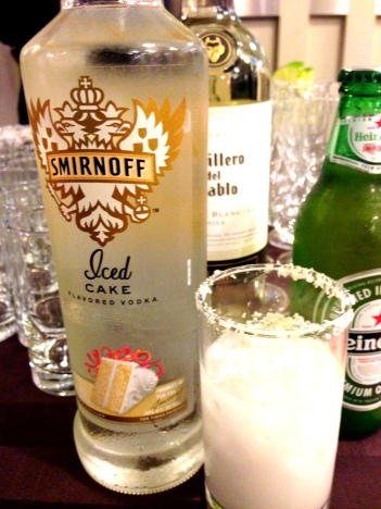 coconut cream pie cocktail with smirnoff iced cake vodka made at Pie Party Live 2012
