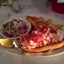 maine lobster roll with french fries and cole slaw from ocean house