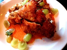 korean fried chicken with spicy kimchee yogurt, cherries, mint at talde