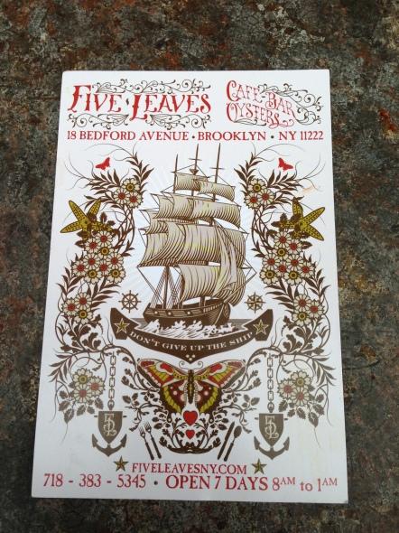 five leaves postcard